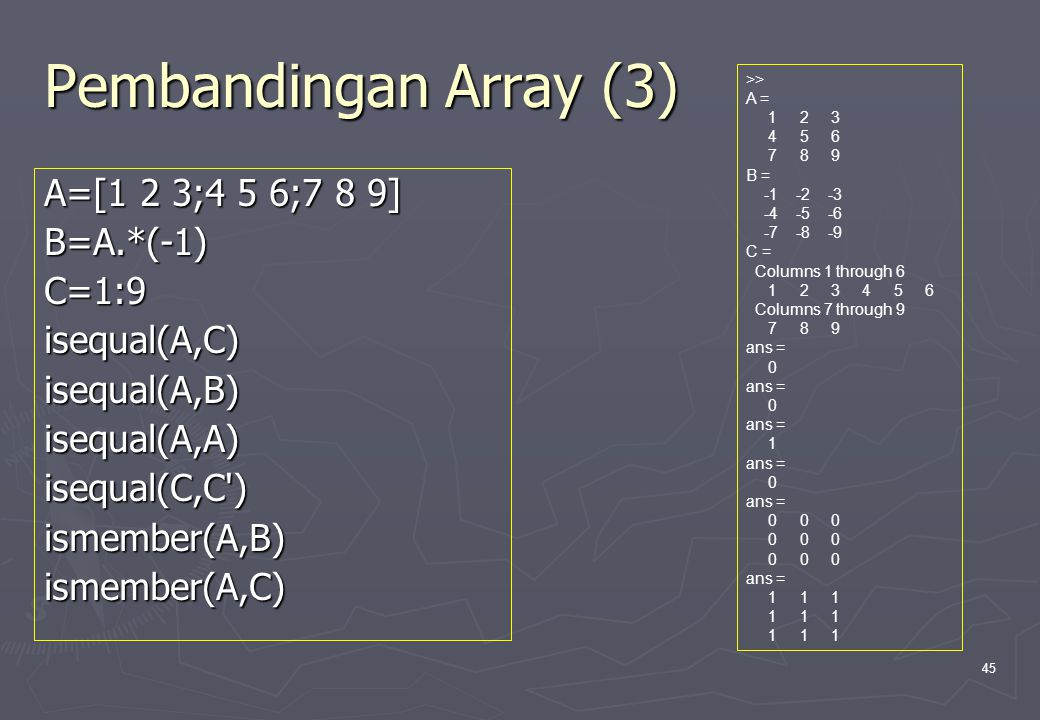 Pembandingan Array (3) A=[1 2 3;4 5 6;7 8 9] B=A.*(-1) C=1:9